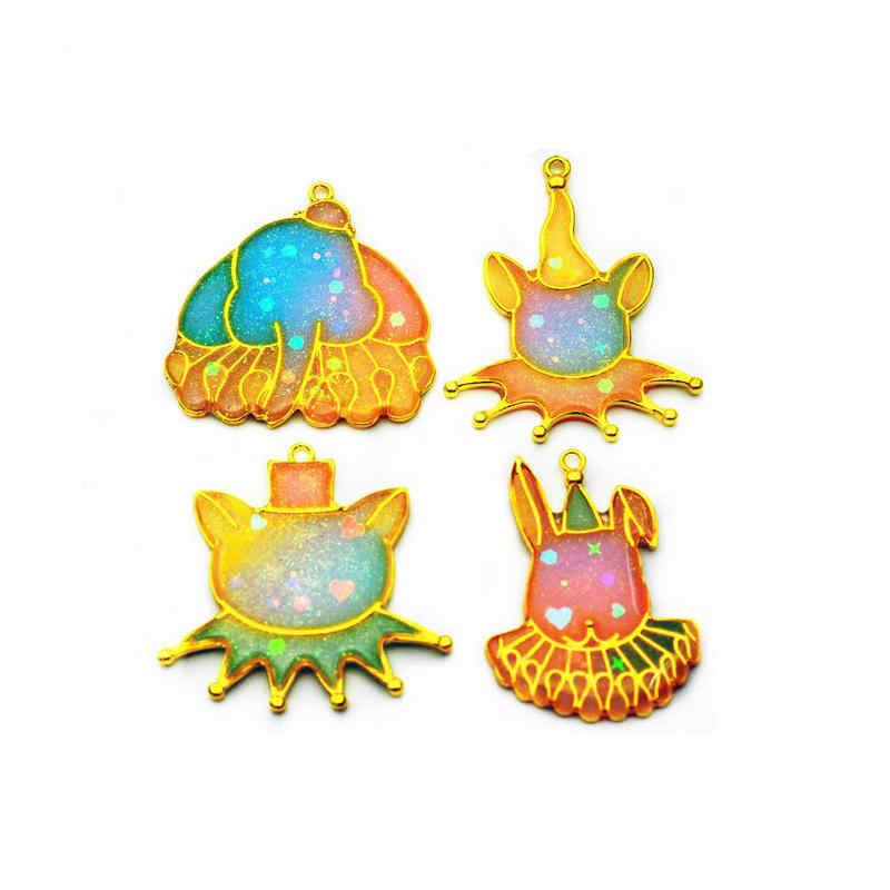 5 sztuk słoń królik Clown otwarte ramki DIY UV biżuteria z żywicy metalowa rama Kawaii Art akcesoria Handmade żywica kot Charms wisiorek