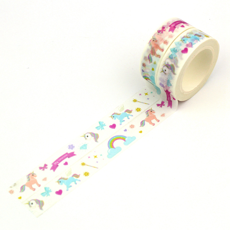 2PCS/lot Cute Pink Hearts Rainbow Unicorns Valentine Washi Tapes Paper Planner Scrapbooking Adhesive Masking Tapes Stationery