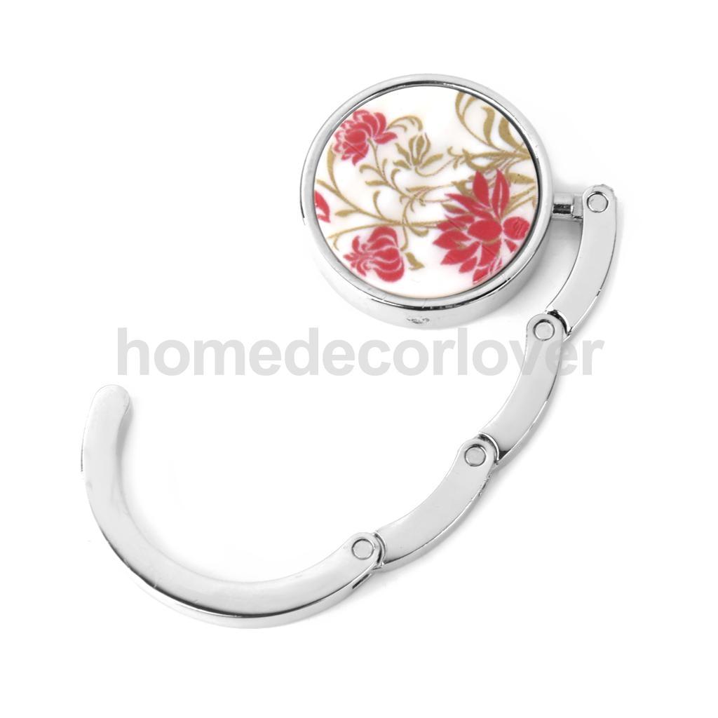 Portable Folding Bag Handbag Travel Purse Hook Hanger Holder Gift Flower Red