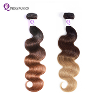 Queena Ombre Hair Bundles T1B/4/27 1b/4/30 Three Tone Color Malaysian Ombre Body Wave Human Hair Bundles NonRemy Hair Extensions