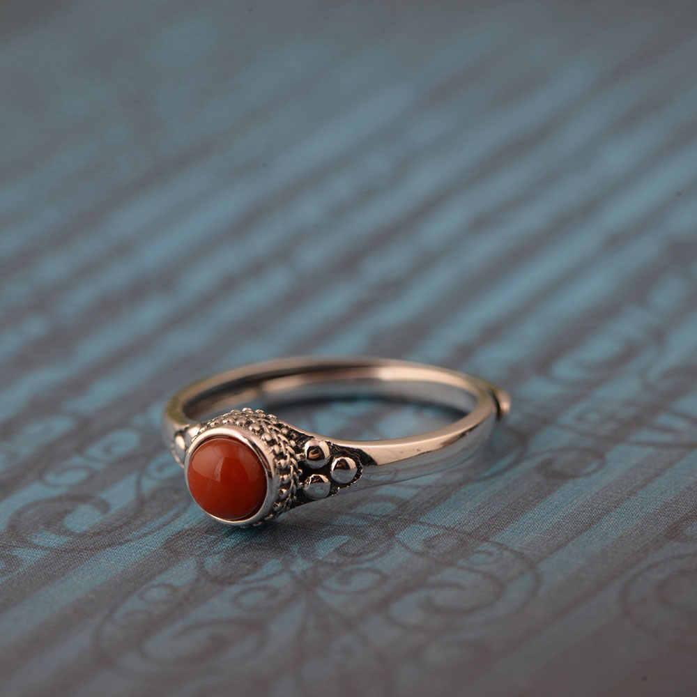FNJ 925เงินไพฑูรย์แหวนสำหรับผู้หญิงเครื่องประดับธรรมชาติสีแดงอาเกตแฟชั่นใหม่100%บริสุทธิ์S925เงินแจสเปอร์แหวนปรับขนาด