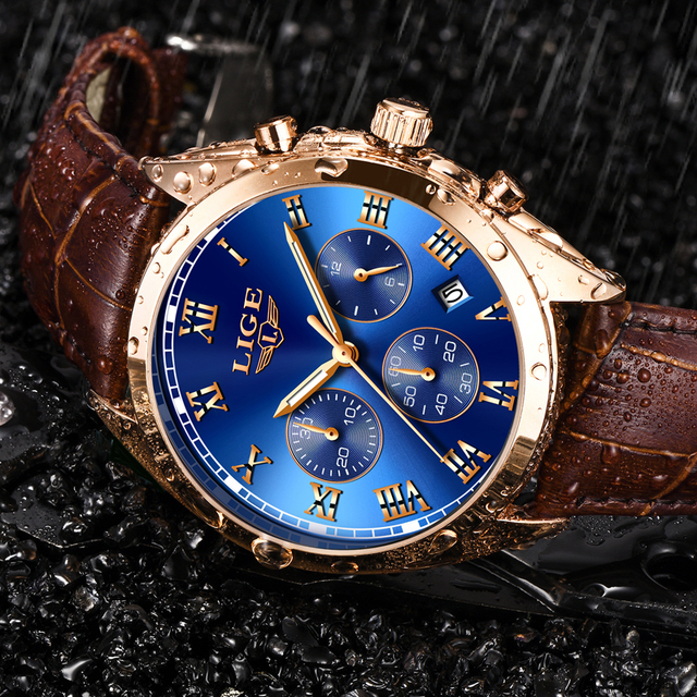 LIGE relojes para hombre, cronógrafo de lujo, de cuero, deportivo, resistente al agua, militar, Masculino