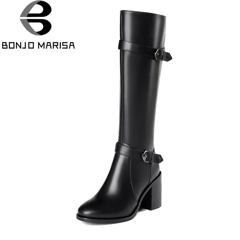BONJOMARISA Plus Size 33-45 Black Platform mid-calf Boots Women Genuine Leather Autumn 2018 High Wide Heels Shoes Woman spring autumn women thick high heel mid calf boots platform woman short boots high heels shoes botas plus size 34 40 41 42 43