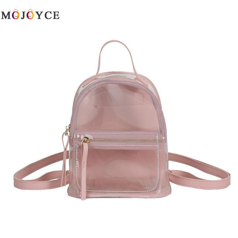 Transparent Women Backpack Student Girls Clear PVC Mini School Backpack Leisure Shoulder Knapsack Mochila FemininaTransparent Women Backpack Student Girls Clear PVC Mini School Backpack Leisure Shoulder Knapsack Mochila Feminina