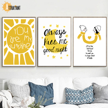 ATTRAYANT Girl Boy Quotes Nordic Posters En Prints Canvas Schilderij Wall Art Canvas Prints Muur Pictures Voor Woonkamer Decor