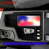 QI wireless charging box For BMW 3 Series F30 F31 2013 2018 Central Storage Pallet Armrest Container Box Cover car Accessories