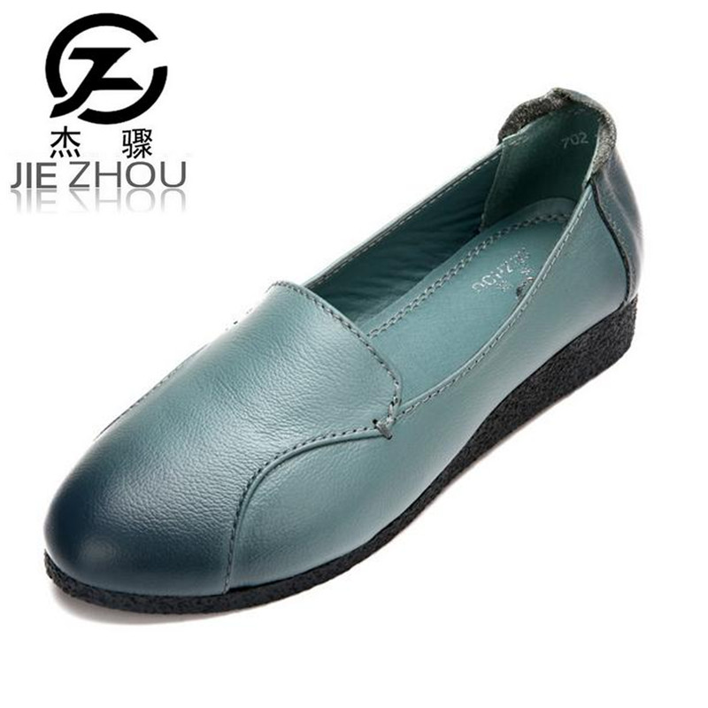2017 new Genuine leather flat shoes Women Shoes soft  bottom pregnant leisure peas shoes retro large size female shoes obuv genuine leather mom shoes retro flowers soft bottom flats shallow mouth women shoes comfortable large size elderly shoes obuv