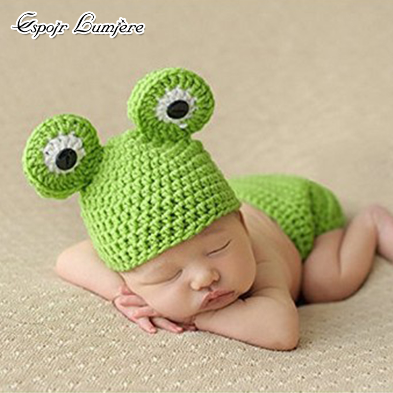 Cute Frog Baby Hat Set Newborn Cartoon Photography Props Crochet Knit Photo Accessories Toddler Infant Costume Pants Set Outfits christmas cute crochet knit costume prop outfits photo photography baby ear hat photo props new born baby girls cute outfits