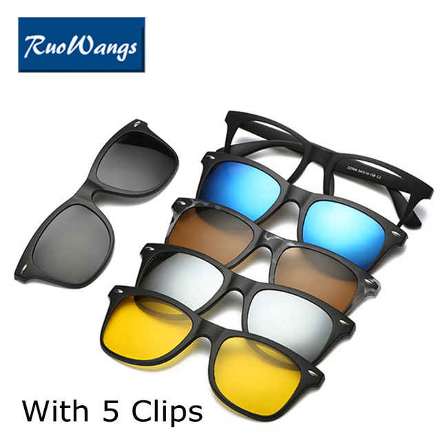 Spectacle Frame Men Women With 5 Pieces Clip On Sunglasses Polarized Magnetic Glasses Male Driving Myopia Optical