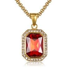 Ожерелье в стиле хип хоп с кулоном из фианита золотого цвета