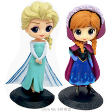 Q Posket Elsa Anna Sleeping Beauty PVC Action Figures Snow Queen Aurora Briar Rose Dolls Figurines Kids Toys for Children Girls
