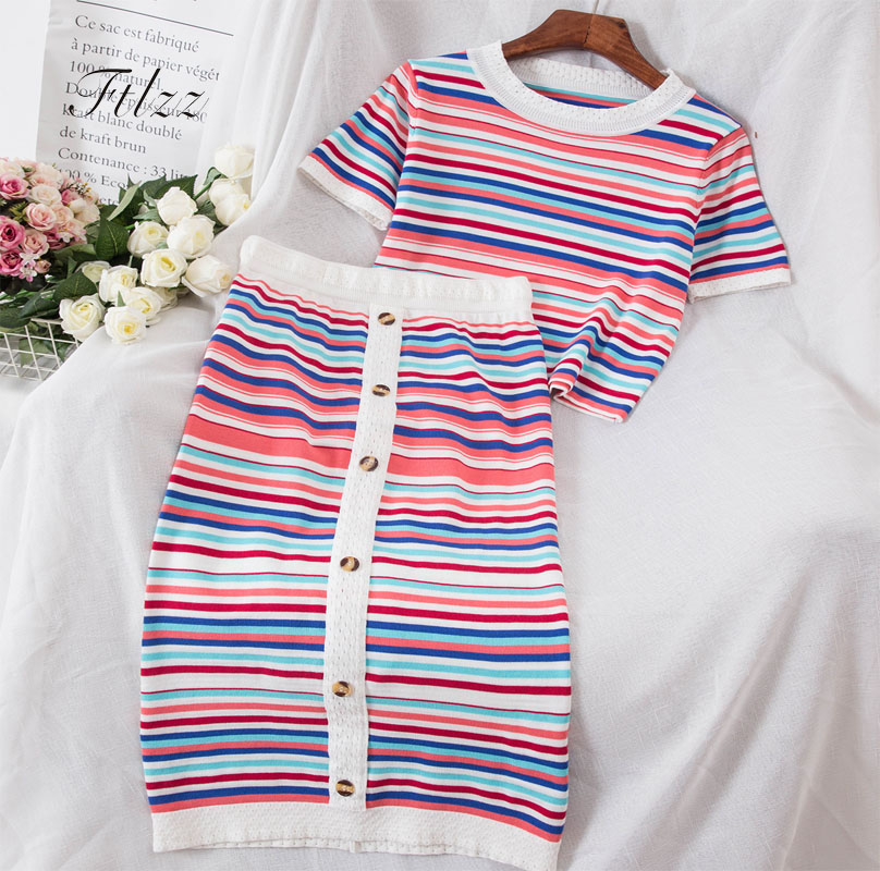2018 Summer Knitted Two Piece Sets Woman Suits Lady Suit Office Wear Clothes New Short Sleeve Tops And Slim Skirts 2 Pcs Set