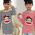 2016 Crianças de Moda T-shirts Com Sstrip Longsleeve Algodão Do Bebê Roupas Para Crianças Tecido de Algodão Do Bebê Dos Desenhos Animados T-shirts Para Meninas