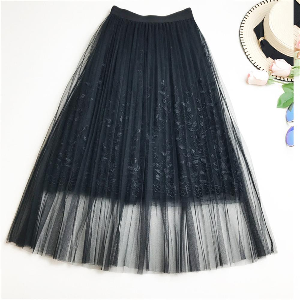 2018 Summer Spring Woman Skirt Pleated Lace Mesh Skirt Heavy Embroidery Skirt Embroidered Mesh Long Skirt