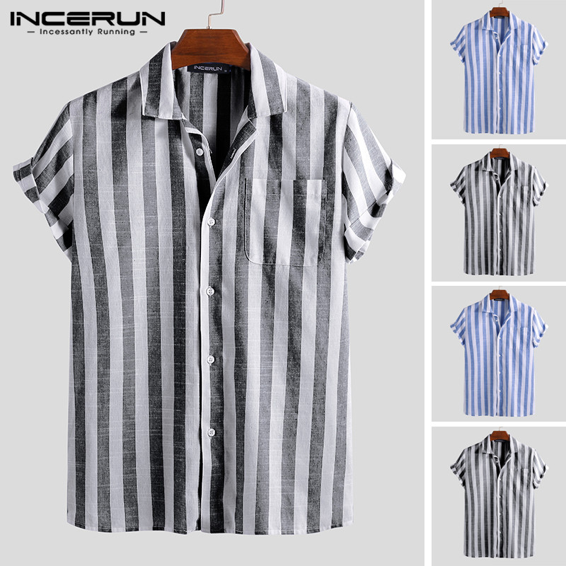 INCERUN New Fashion Striped Casual Shirt Men Short Sleeve Lapel Neck Brand Shirts Men Streetwear Camisa Masculina Plus Size 2019