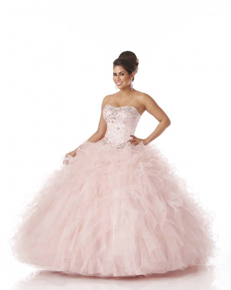 Hot Sale Sweetheart Beaded Top Ruffled Ball Gown Light Pink ...