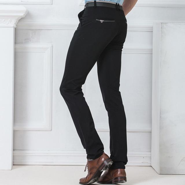 Spring Autumn Fashion slim fit Casual Pants Men Straight Trousers Dress Men Elastic Business Suit skinny Pants For Man 2