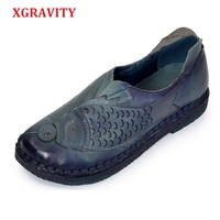 XGRAVITY 4 Colors Lady Genuine Leather Ethnic Hand Made Woman Shoes Elegant Soft Spring Vintage Women