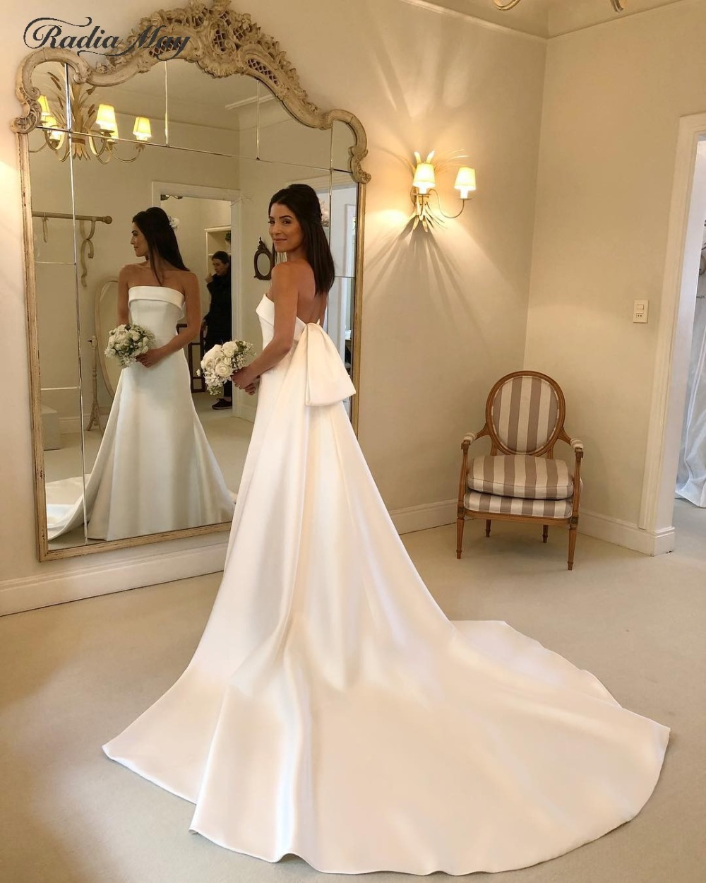 Wedding Dress White Vs Off White: 2019 Vintage Off Shoulder Off White Satin Mermaid Wedding