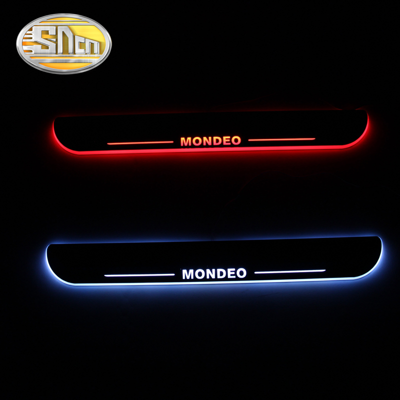 SNCN Waterproof Acrylic Moving LED Welcome Pedal Car Scuff Plate Pedal Door Sill Pathway Light For Ford Mondeo 2013 - 2016 free ship rear door of high quality acrylic moving led welcome scuff plate pedal door sill for 2013 2014 2015 audi a4 b9 s4 rs4 page 5
