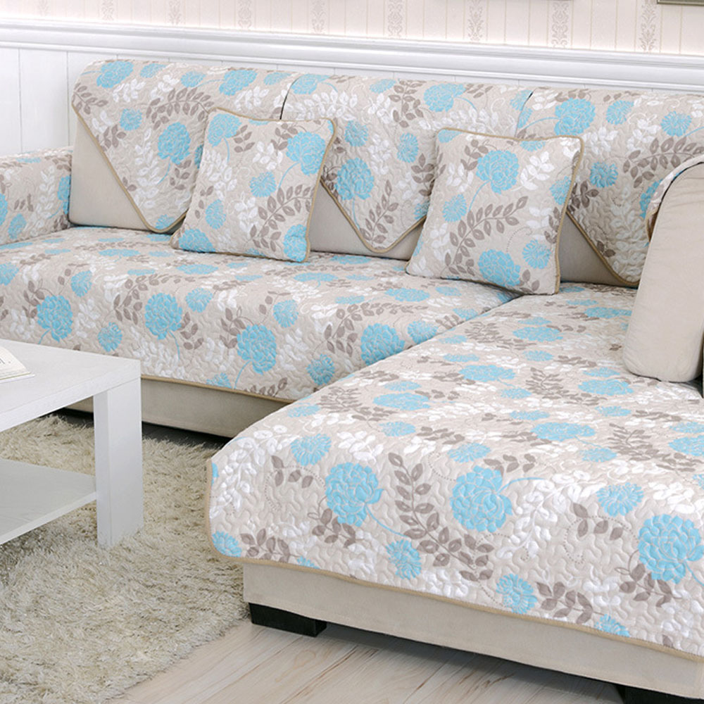 Pastoral Polyester Amp Cotton Fabric Sofa Cover Slipcover On