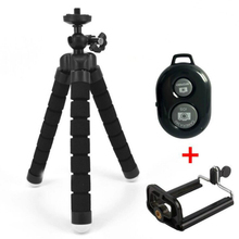 Mini Tripod for Phone with Clip Flexible Sponge Octopus Tripod With Bluetooth Remote Shutter Pocket Tripod for Mobile iPhone Etc