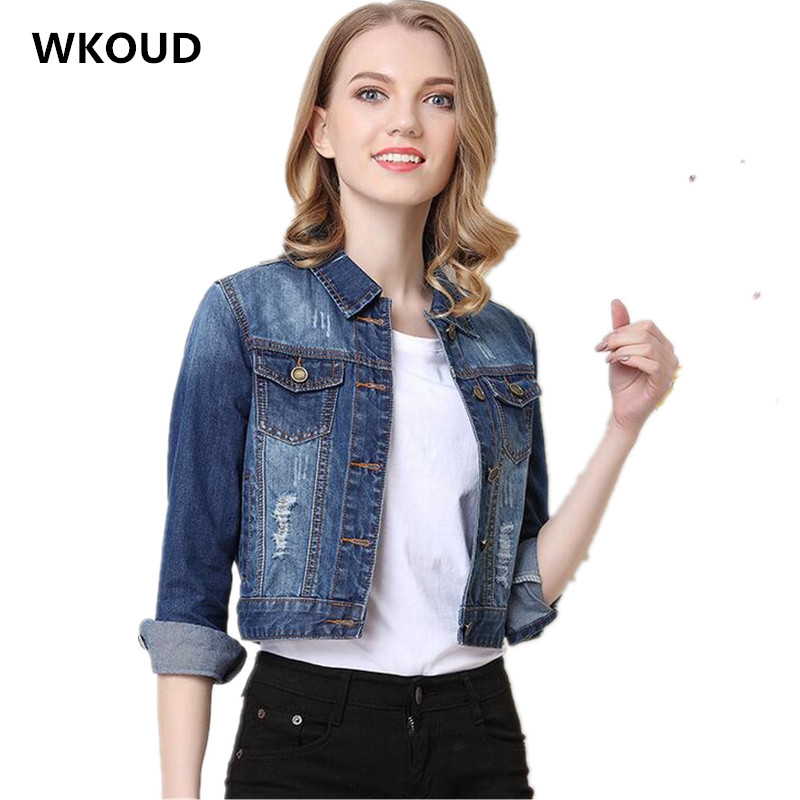 WKOUD Embroidery Denim   Jackets   Women Fashion   Basic     Jacket   New Autumn Short Jeans Coats Solid Casual Streetwear Overcoat C8005
