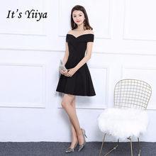 fe2e24dde Es Yiiya negro sin mangas fuera del hombro vestidos de cóctel de lujo  famoso diseñador vestido Formal MX018