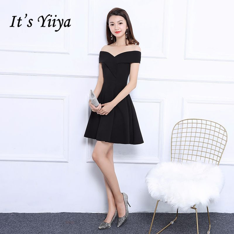 It's Yiiya Little Black Sleeveless Off The Shoulder Luxury   Cocktail     Dresses   Famous Designer Party Formal   Dress   MX018