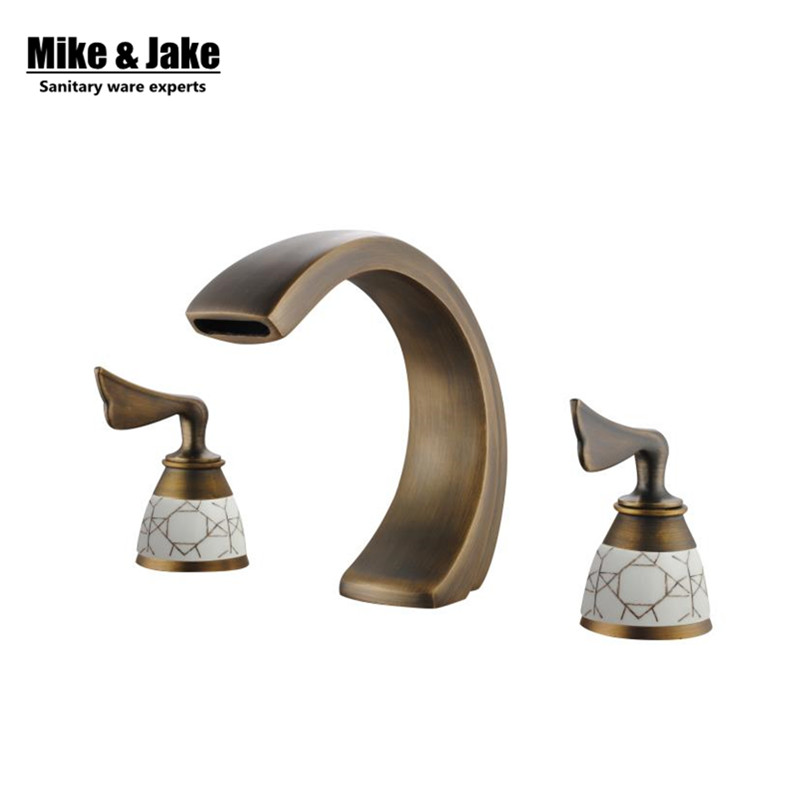 Double handle 3pcs set deck mounted antique brass faucet bathroom sink tap basin mixer vintage bathroom tap Mike&Jake SH9902 flg bathroom faucet antique brass all copper double handle 360 degree rotating deck mounted cold hot sink mixer water tap 10703
