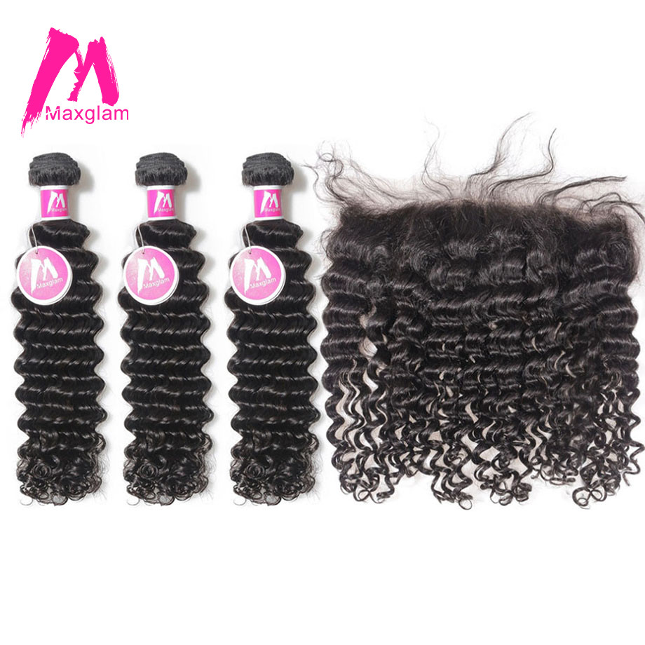 Maxglam Brazilian Deep Wave 3 Remy Human Hair Weave Bundles With Lace Frontal Closure Deal Free