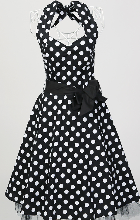 Free ship in stock cotton black white polka dots dress sexy plus size club dresses for chubby girls pin up short prom under 50s