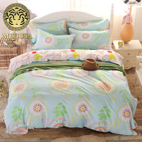 2016 mode beddengoed queen volledige twin size dekbed/doona cover laken kussenslopen 3/4 stks beddengoed set/turquoise zonnebloem