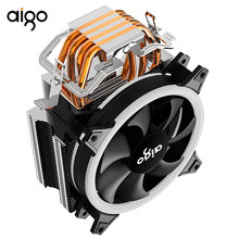 AIGO E3 120mm LED CPU cooler 4 tubos 4 pines silenciosamente PWM control de temperatura soporte AMD y juego Intel de doble anillo(China)