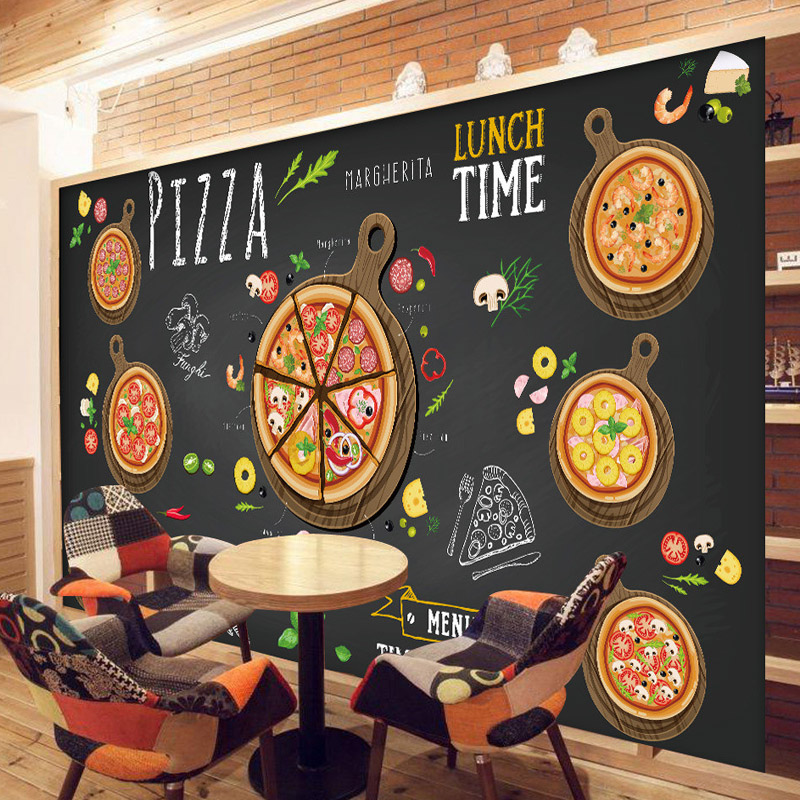 Buy custom 3d wallpaper for walls 3d pizza shop wall mural f - Plaque decorative cuisine ...