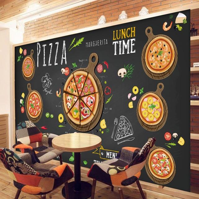 Blackboard Wallpaper Murals Food Wallpaper Murals Bistro: Custom 3D Wallpaper For Walls 3D Pizza Shop Wall Mural