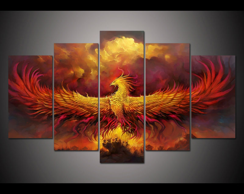 at home decor phoenix canvas print painting 5 panel hd printed painting 10388