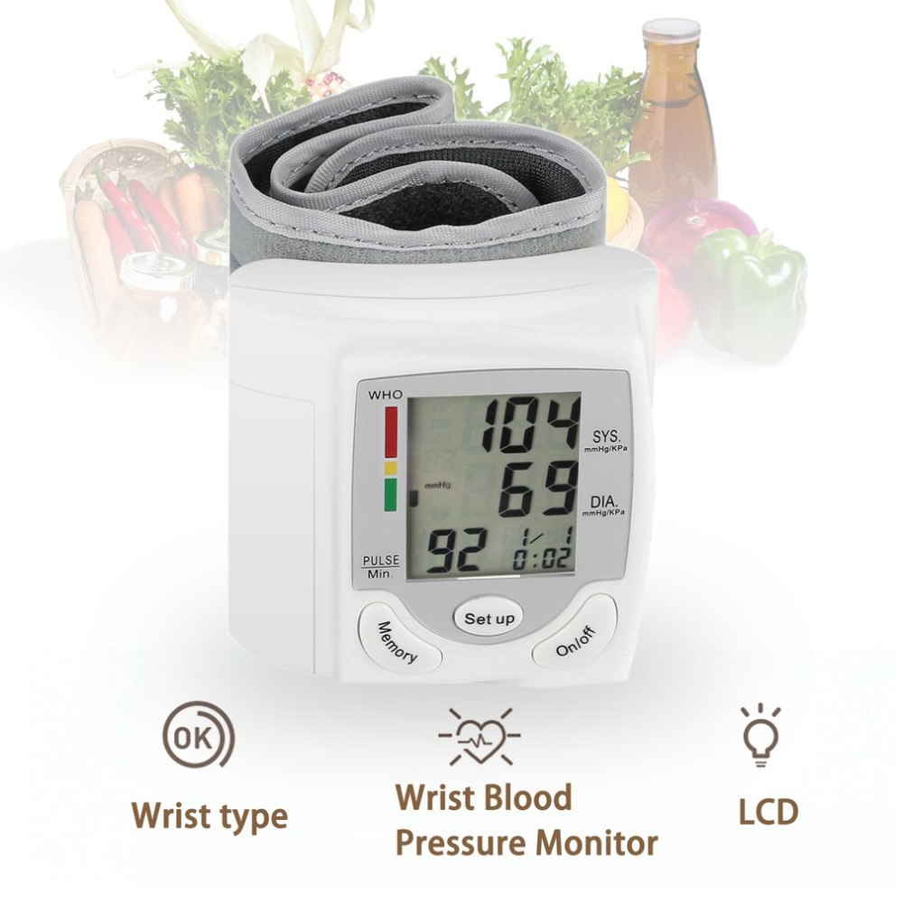 Wrist Blood Pressure Monitor Portable Automatic Digital LCD Device Heart Beat Rate Pulse Display Meter Measure Tonometer White