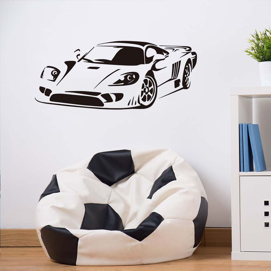 Sports Car Silhouette Vinyl Wall Stickers TrafficWall Art Vinyl Removable Wallpaper Living Room Bedroom Decals Home Decor JD1801