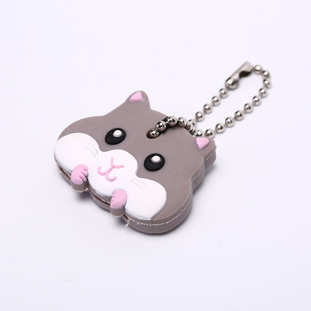 Lovely Animals Shape Key Ring Silicone Cap Head Cover Key Case Shell Keychain Jewelry Gift 3