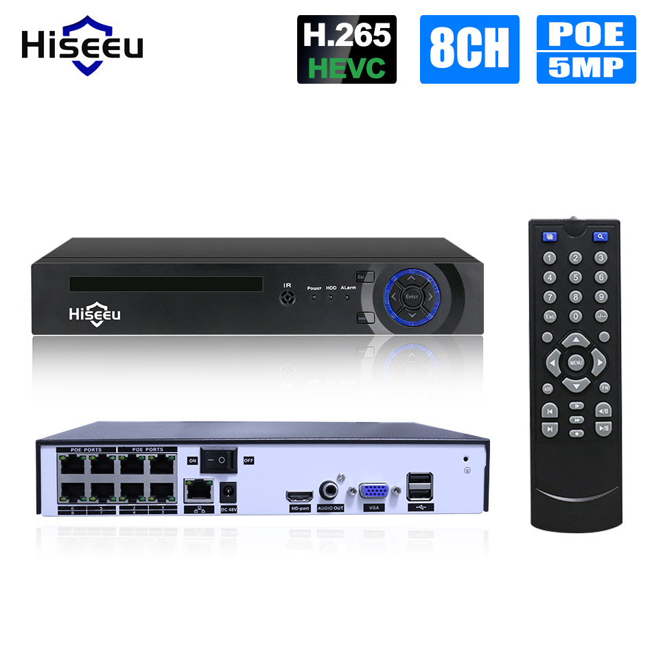 Видеонаблюдения H.265 PoE NVR 4, 8 канал для HD 1080 P IP Камера PoE 4CH 8CH PoE NVR 4MP 5MP 48 V 802.3af ONVIF 2,0 hiseeu DVR