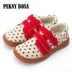 Pekny Bosa di marca per bambini scarpe di Tela della ragazza stampato scarpe da ginnastica di tela ragazzo un'ampia piazza toe scarpe per bambini a piedi nudi scarpa da tennis scarpe scuola