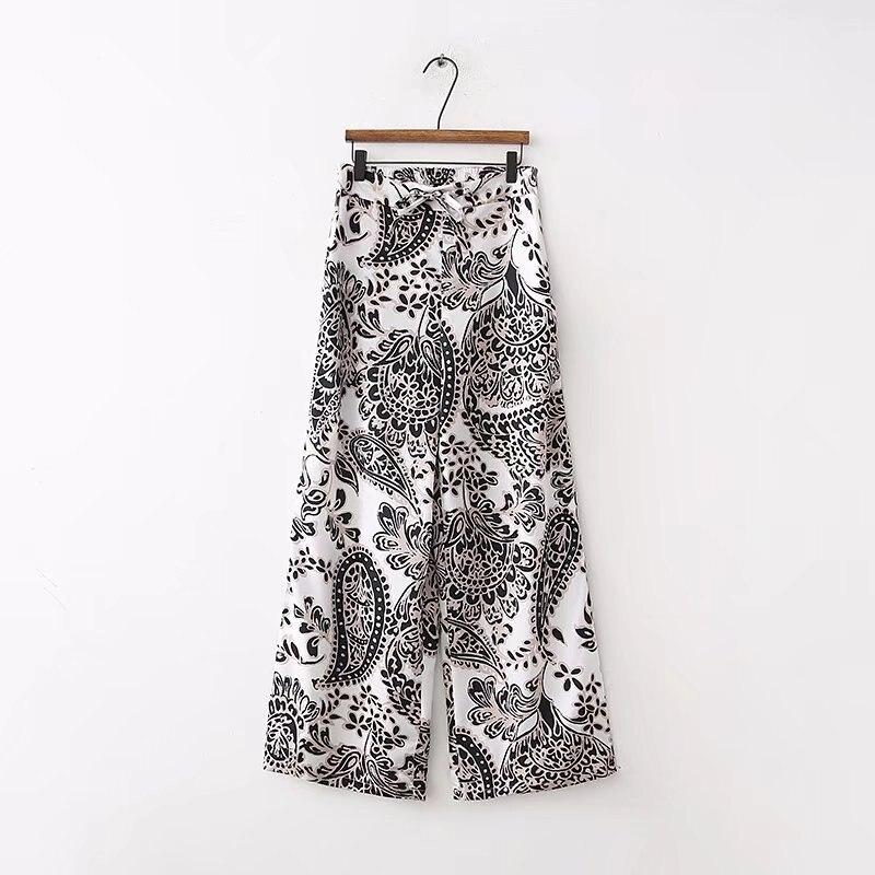 spring female casual pants flower print wide leg pants