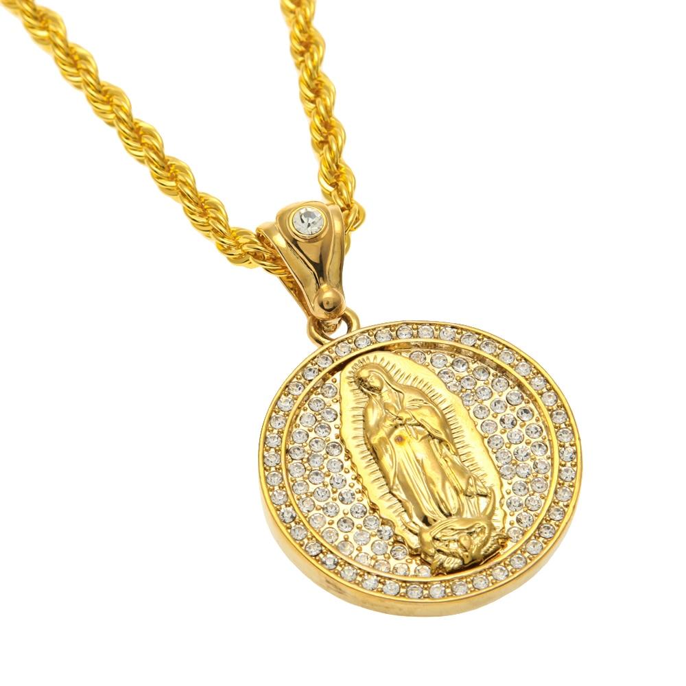 64d3f63b05b1 Mcsays joyería para hombre hiphop COLLAR COLGANTE circular Madonna Maria  completo CZ Cadena de cobre color oro para hombres regalos 4GM en Colgantes  de ...
