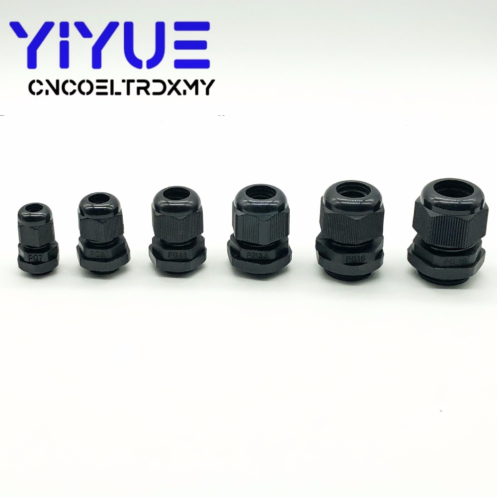 5pcslot IP68 PG7 for 3-6.5mm PG9 PG11 PG13.5 PG16 PG19 Wire Cable CE White Black Waterproof Nylon Plastic Cable Gland Connector