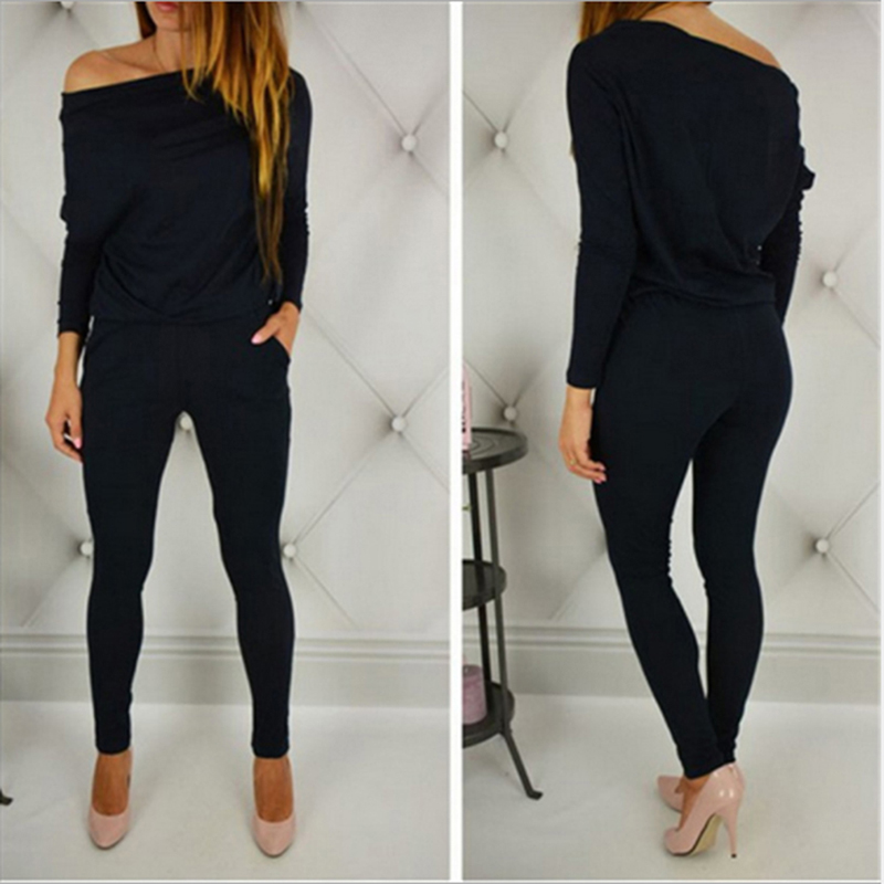 New Style Solid Color   Romper   Playsuit Women Sexy V-Neck Long-Sleeve Bodycon Cotton   Rompers   Womens Black Gray Wine Red Jumpsuit