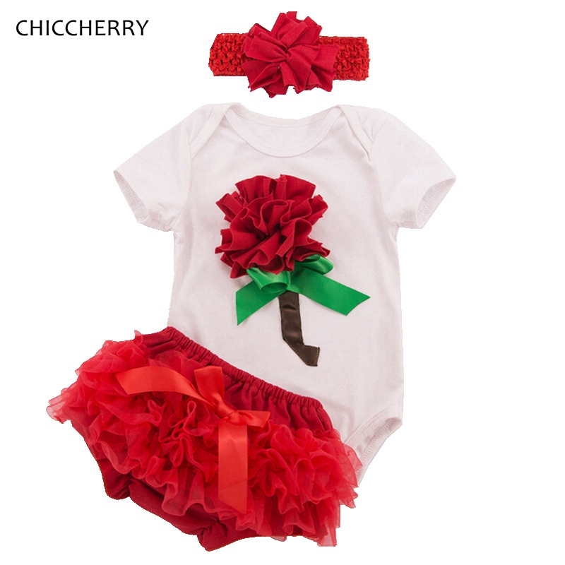 Floral New Year Baby Girl Clothes Infant Baby Bodysuit Headband Lace Bloomer Set Valentine Gift Ropa De Bebe Toddler Outfits