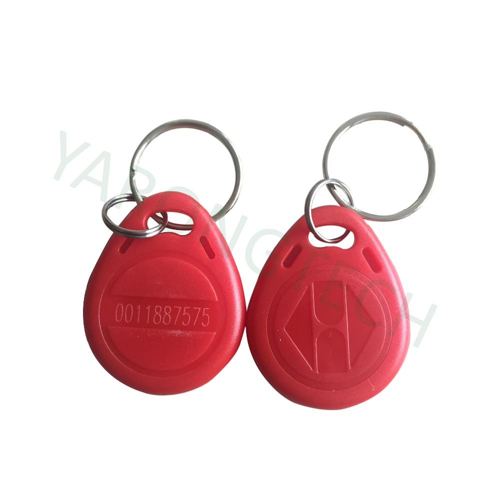 RFID Tag 125khz Proximity Access Control Key Fobs Read Only Red Color ABS Waterproof -10pcs/lot