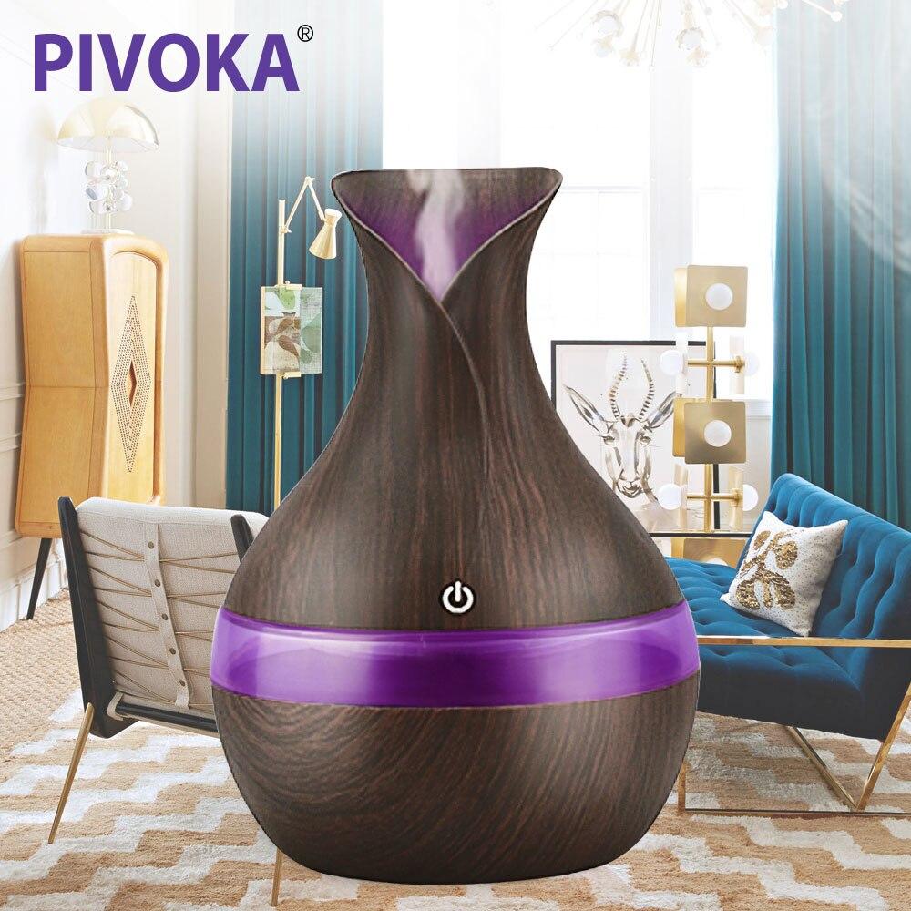 PIVOKA 300 ml Aria Aroma Umidificatore Oli Essenziali per Aromaterapia diffusori di ricarica USB Ad Ultrasuoni humidificador Per La Casa 066