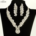 CHRAN Sparkling Rhinestone Bridal Jewelry Sets Wholesale African Crystal Wedding Jewelry Set Party Jewelry Necklace Earrings Set